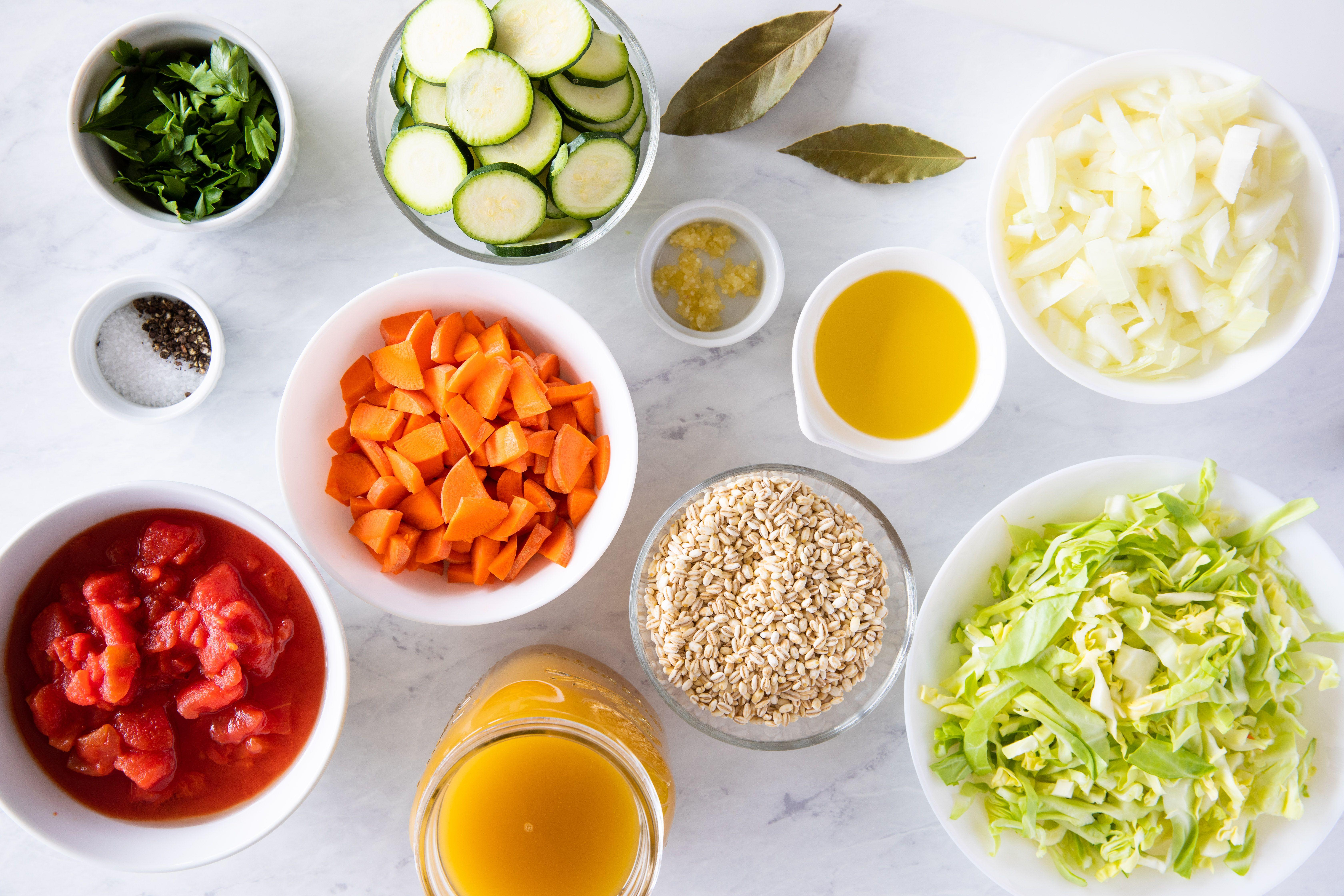 Ingredients for vegetarian barley soup