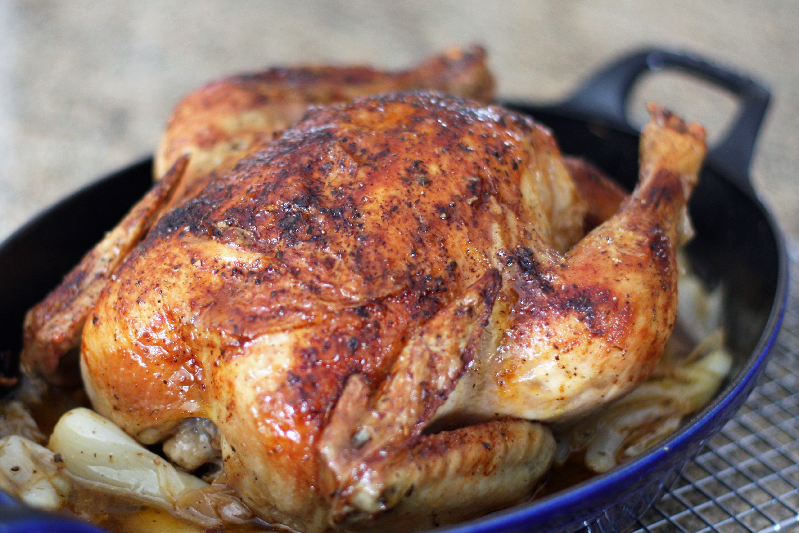 Roast chicken with herbs and garlic.