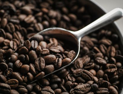 Scoop of roasted beans for coffee in bowl of beans