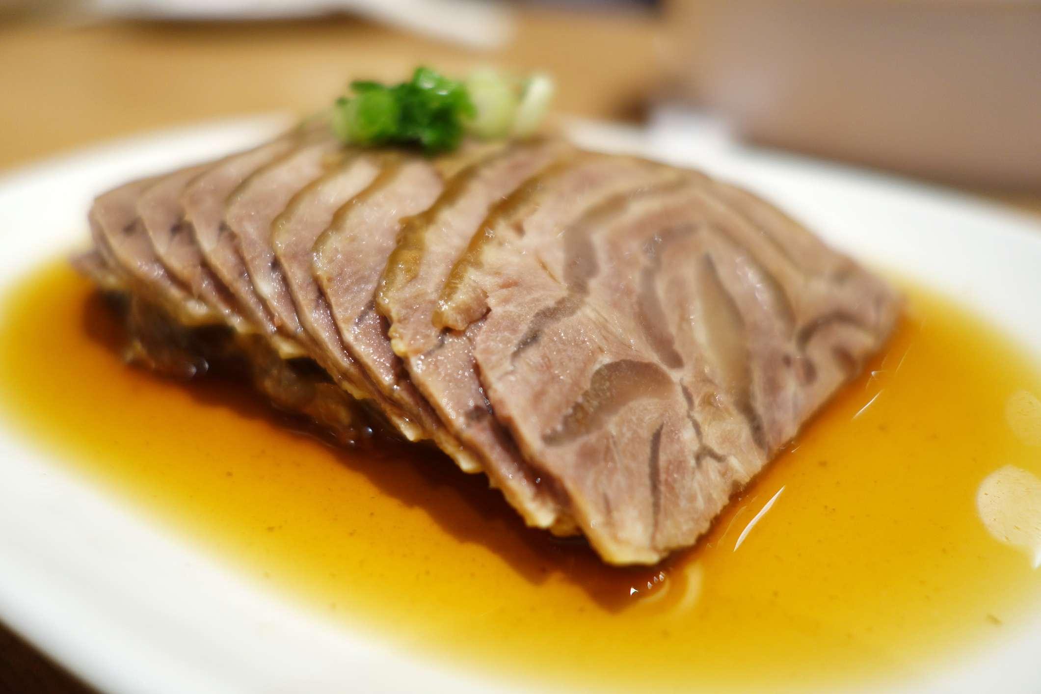 Pork aspic on a plate
