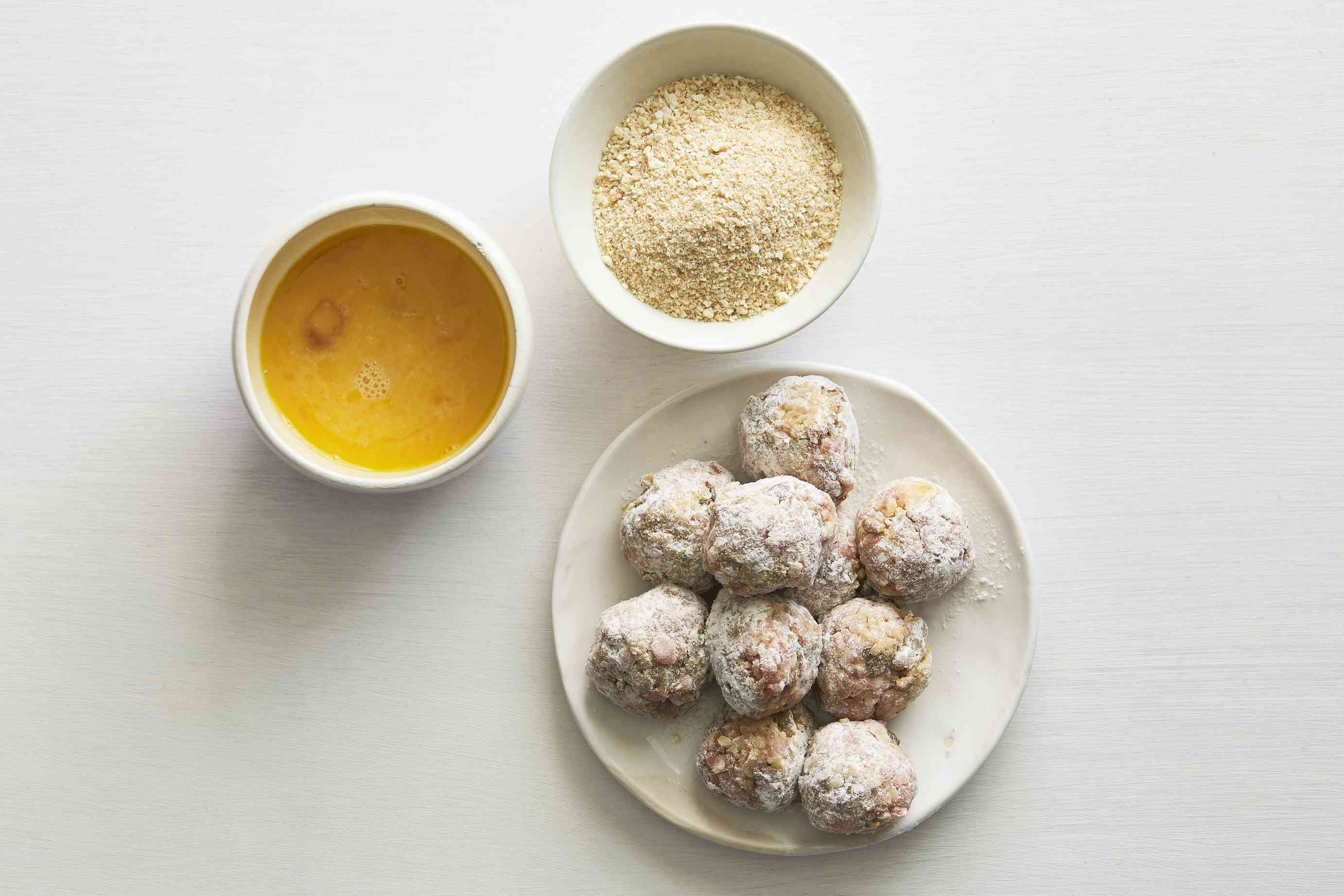 boudin balls covered in flour