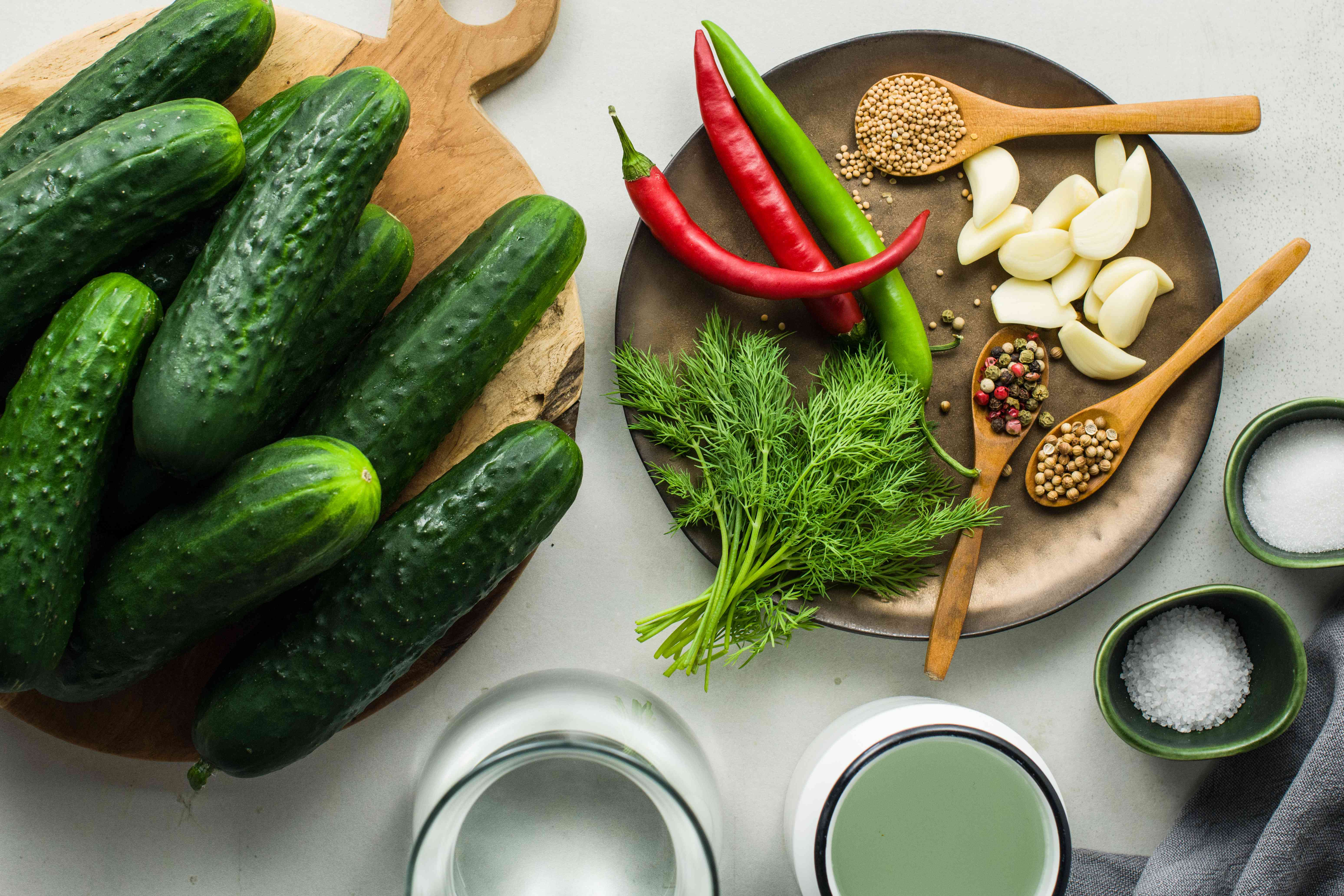 Ingredients for smashed pickles recipe