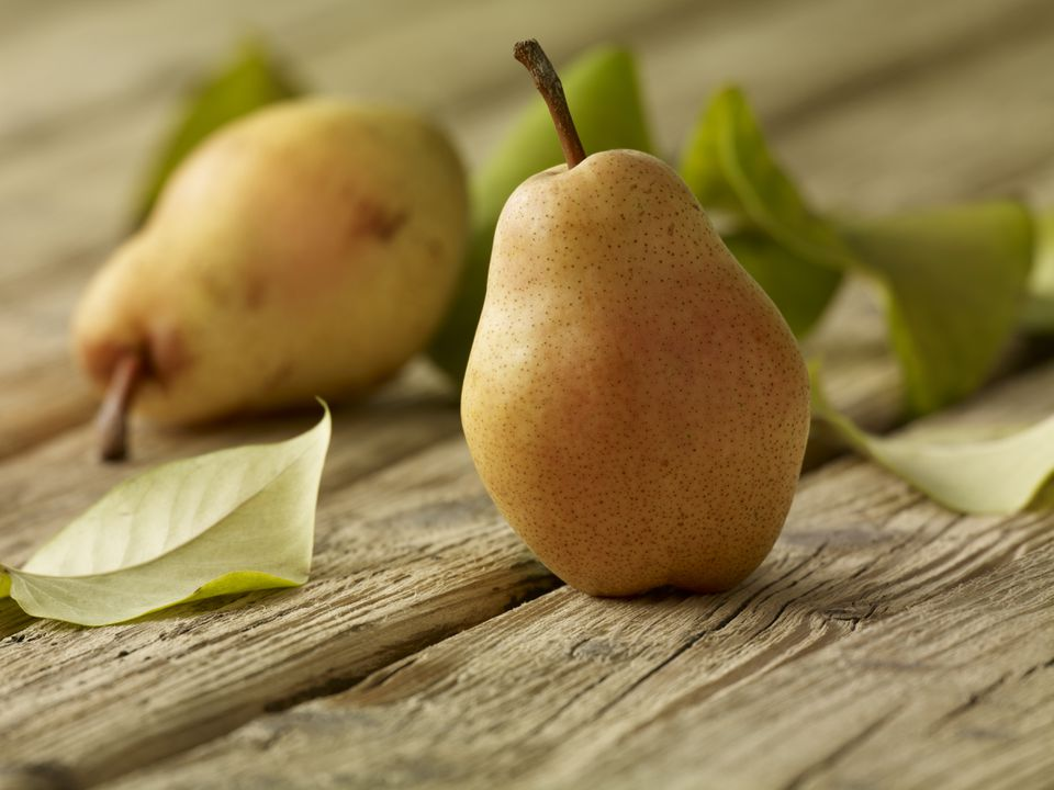 fresh ripe pears on a table