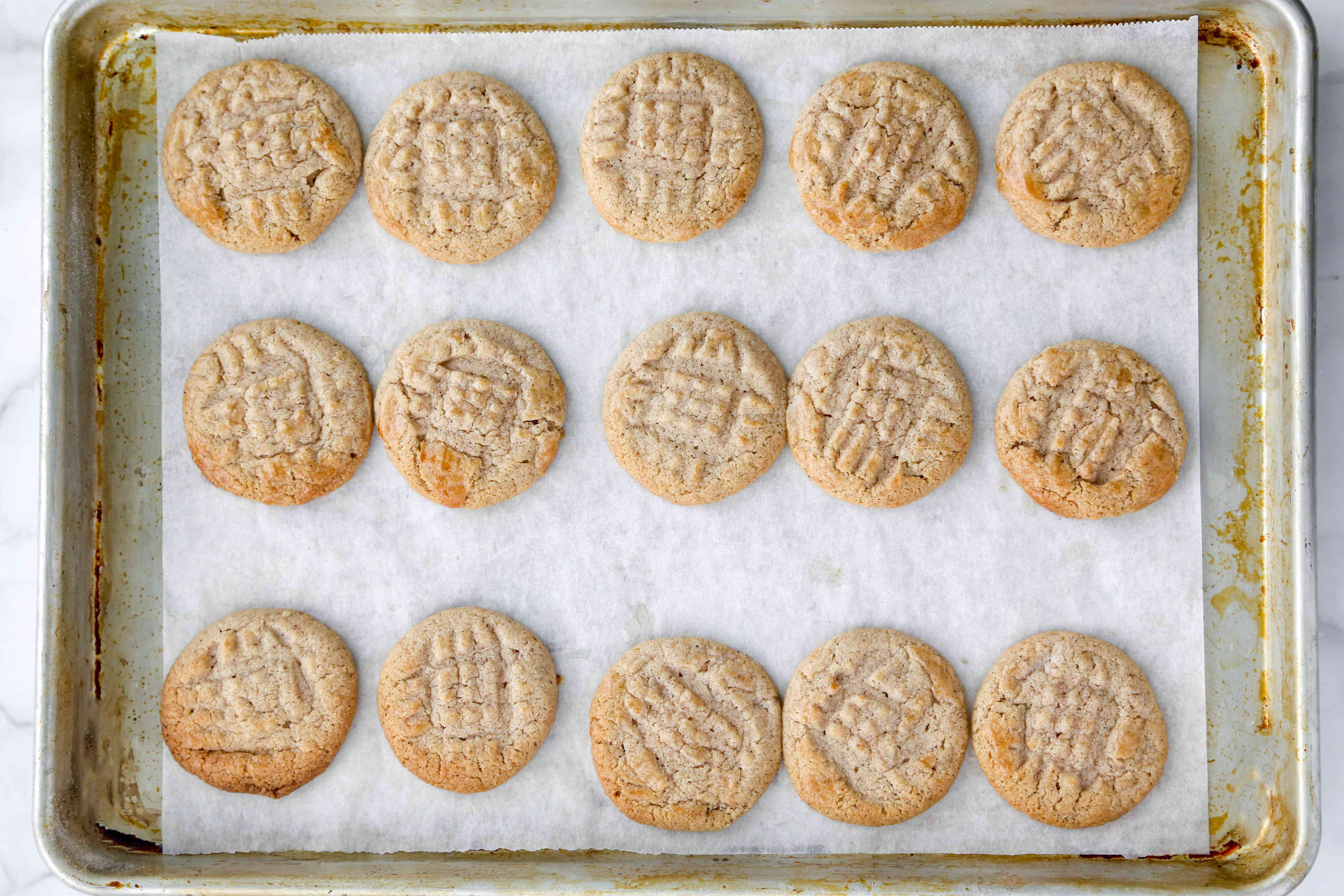 baked cookies on a baking sheet