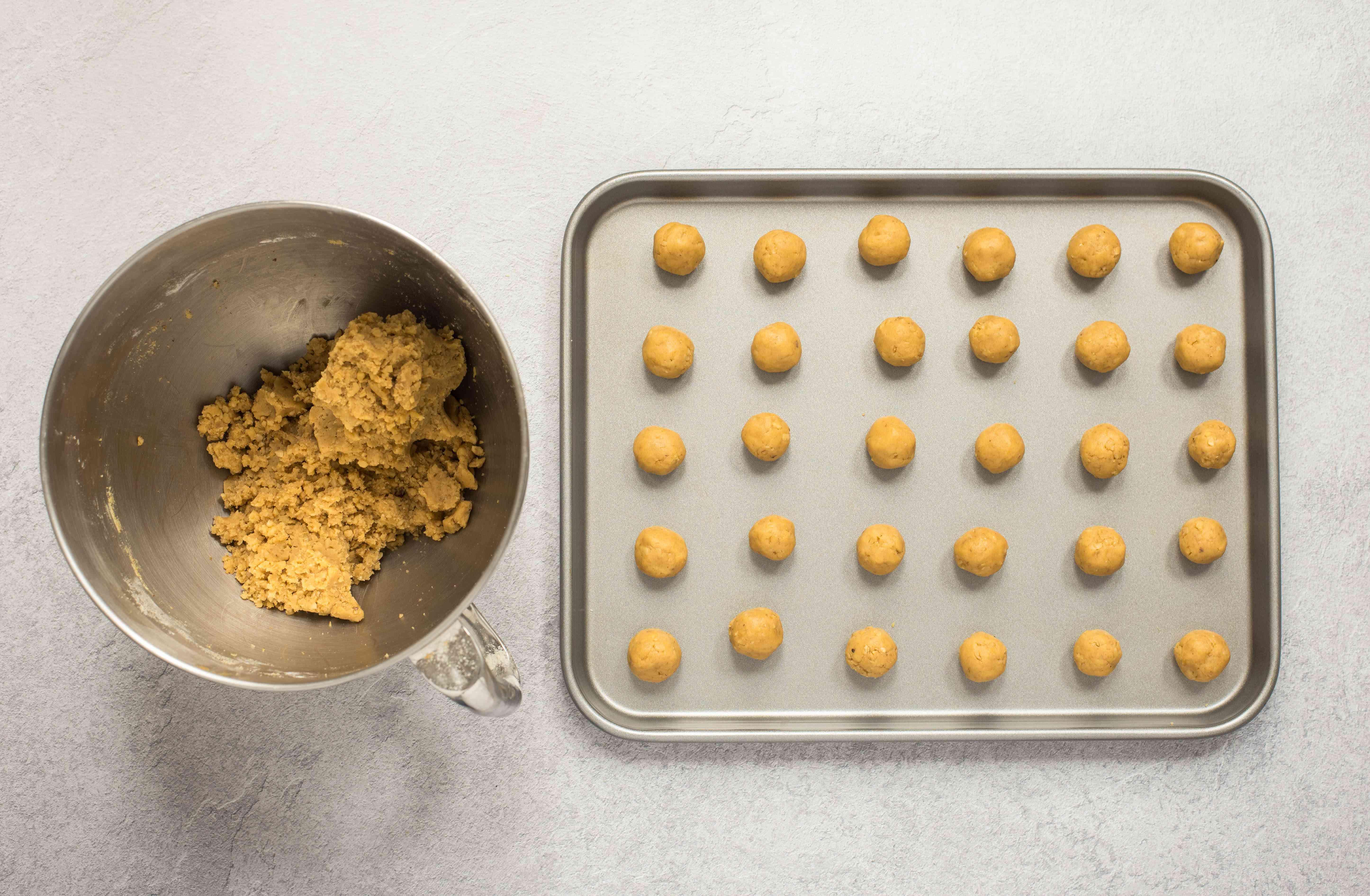 dough balls on baking tray