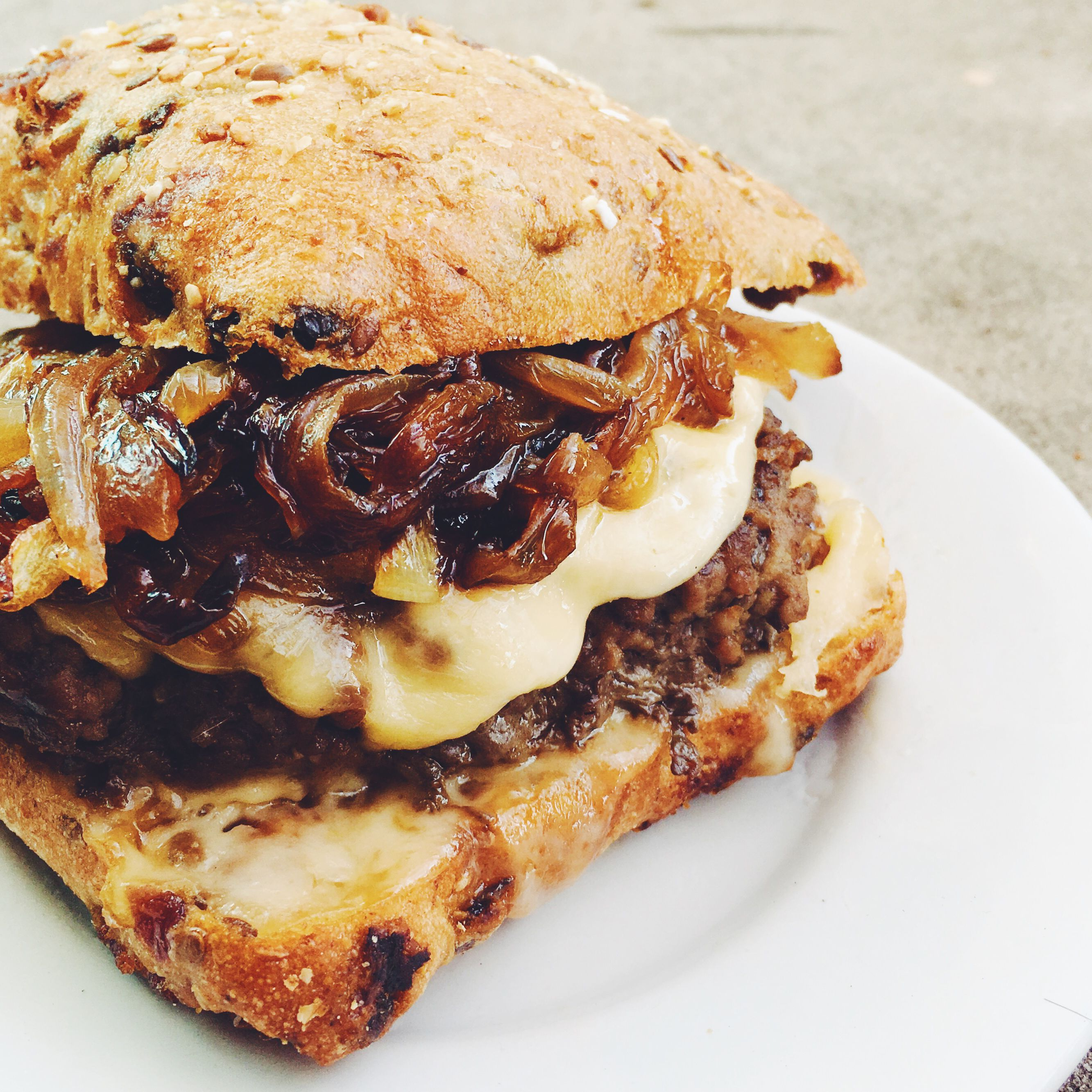 French Onion Soup Burger With Caramelized Onions, Gruyere and Comte