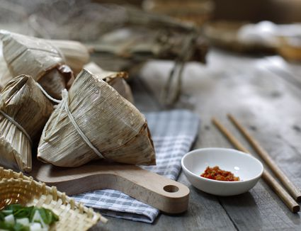 Asian Chinese Rice Dumpling on wooden table