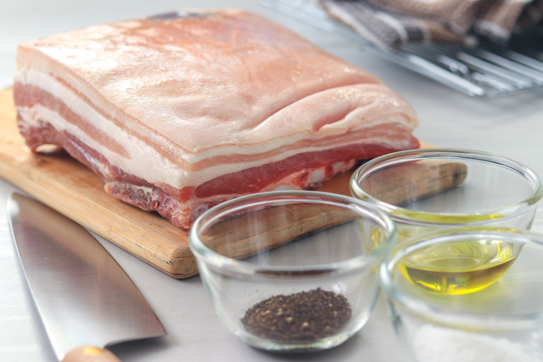 Ingredients for slow-roasted pork belly