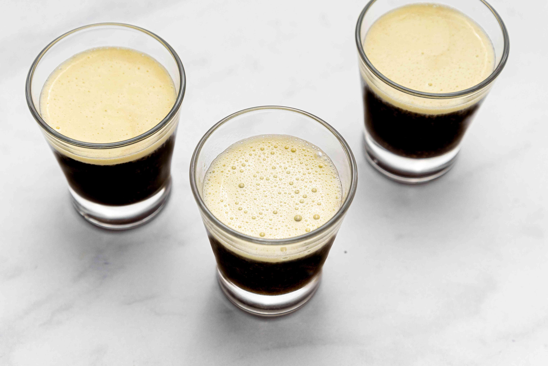egg foam and coffee in glasses