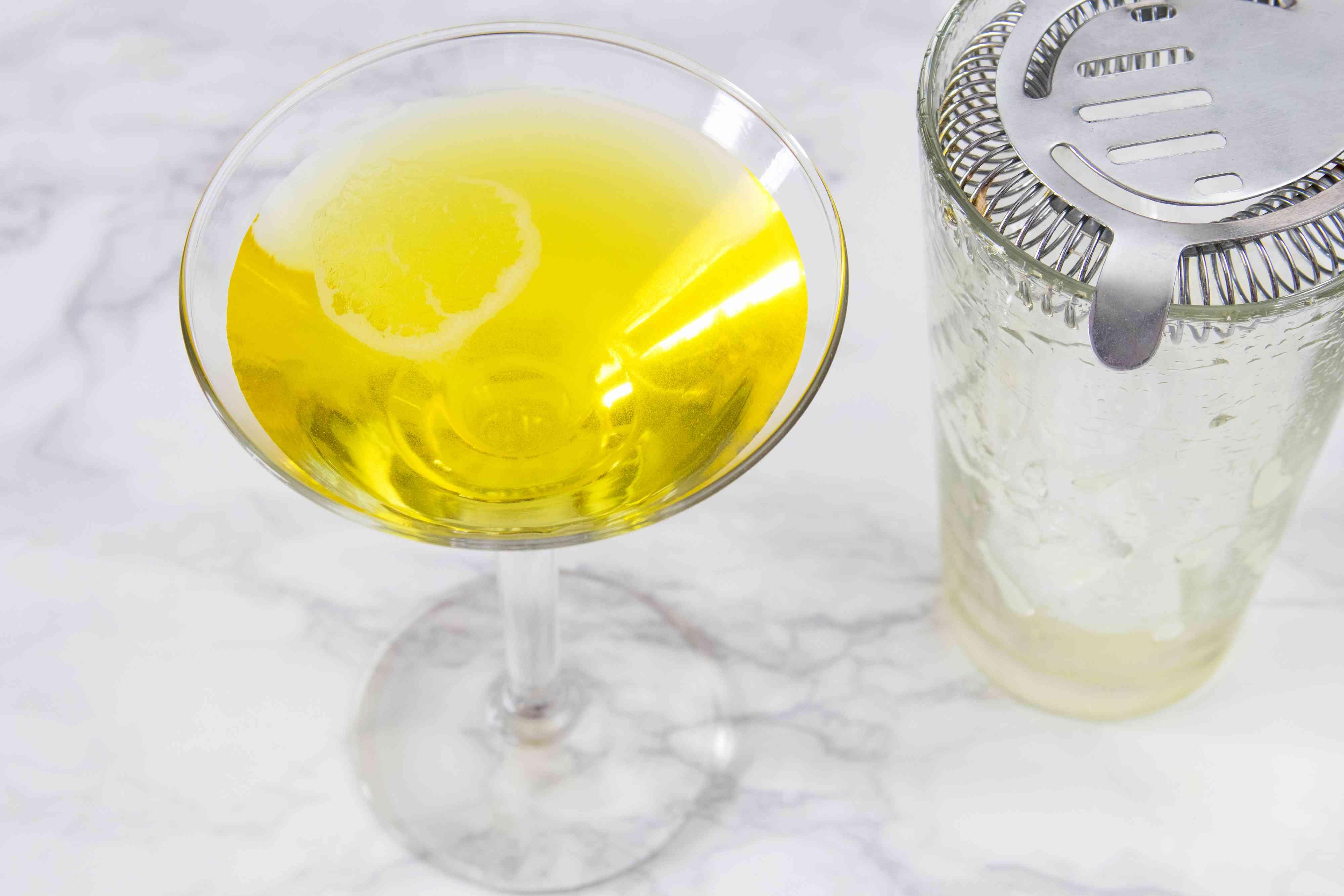 Straining a Banana Split Martini