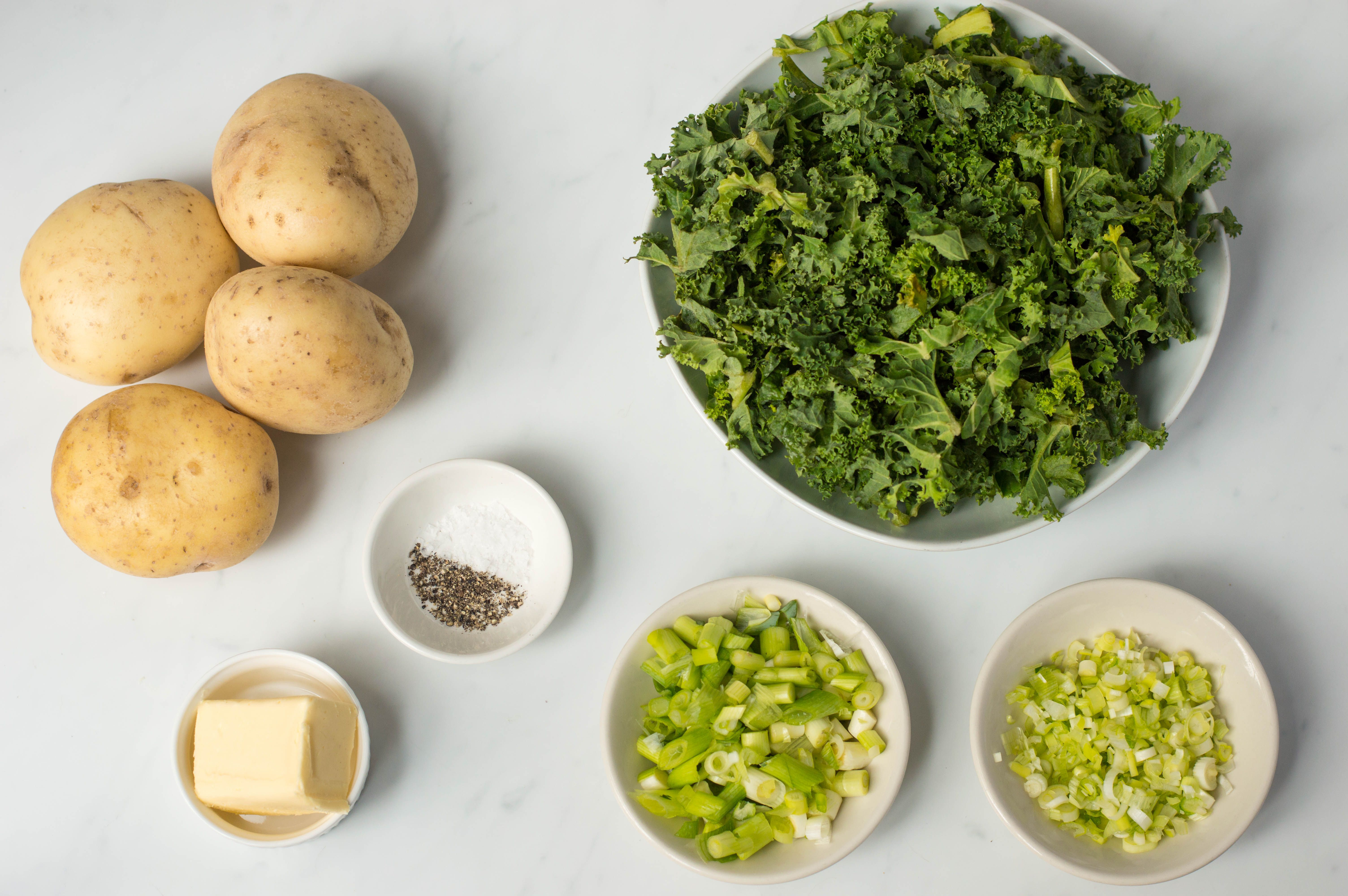 Ingredients for making colcannon