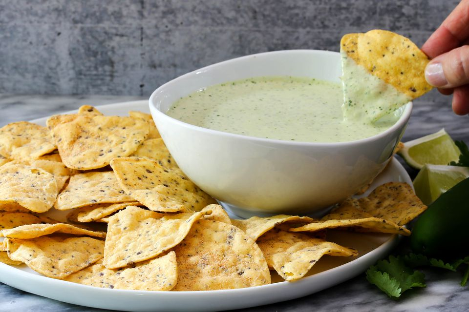 creamy jalapeno sauce and chips