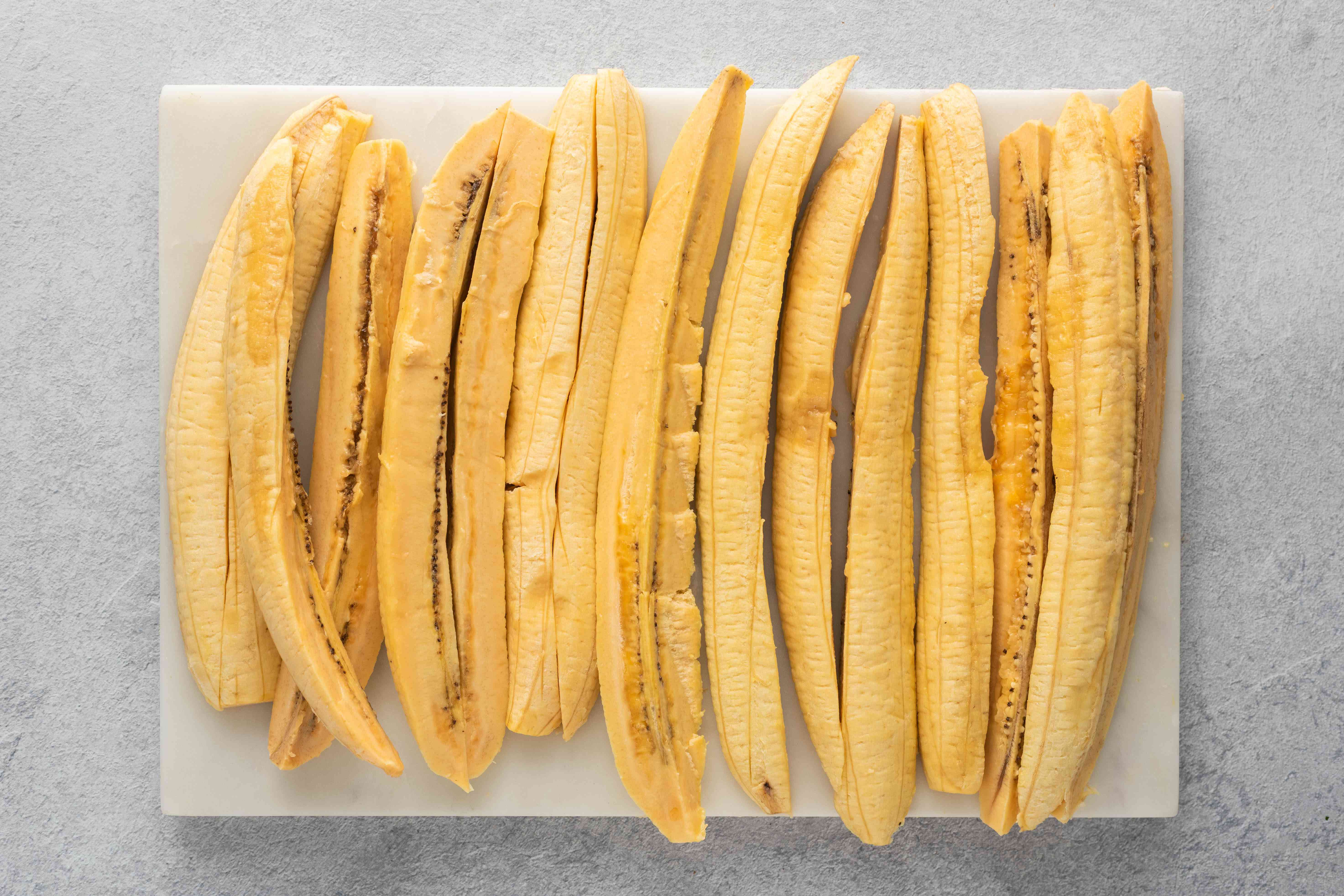 slice each plantain into four long pieces