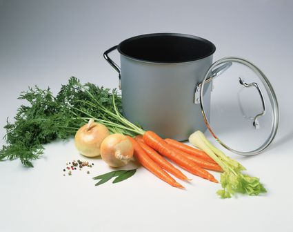 Stock pot with carrots, celery and onions
