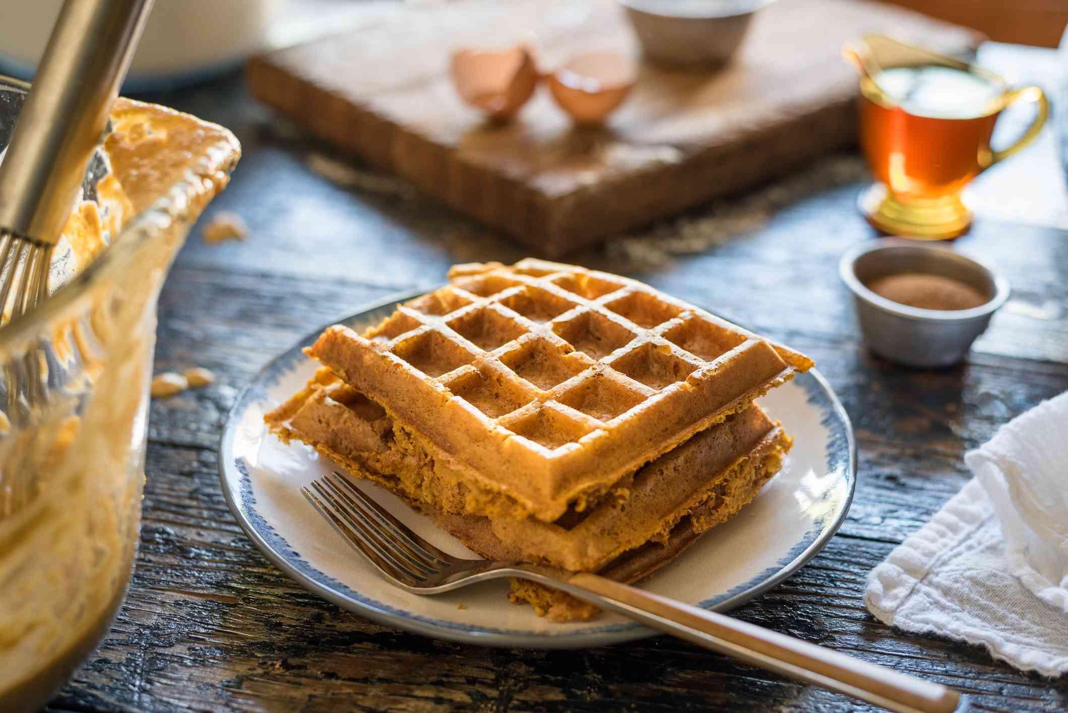 Plain waffles on plate