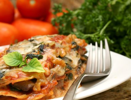 Whole Wheat Vegetarian Lasagna With Spinach, Mushrooms and Onions