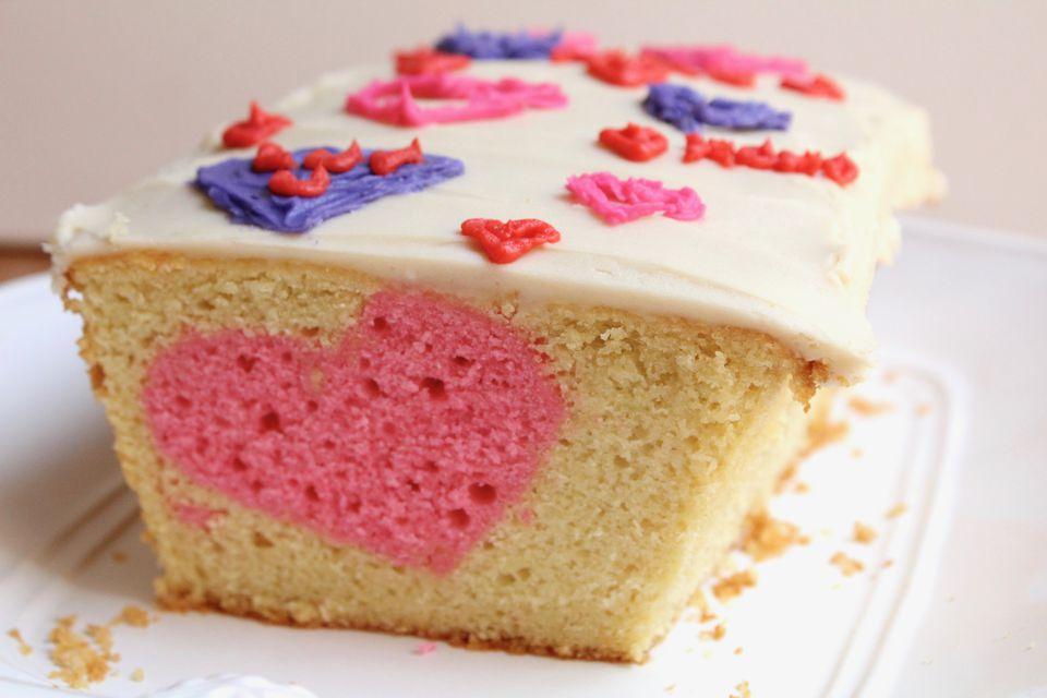 Valentine's Day Heart Surprise Cake