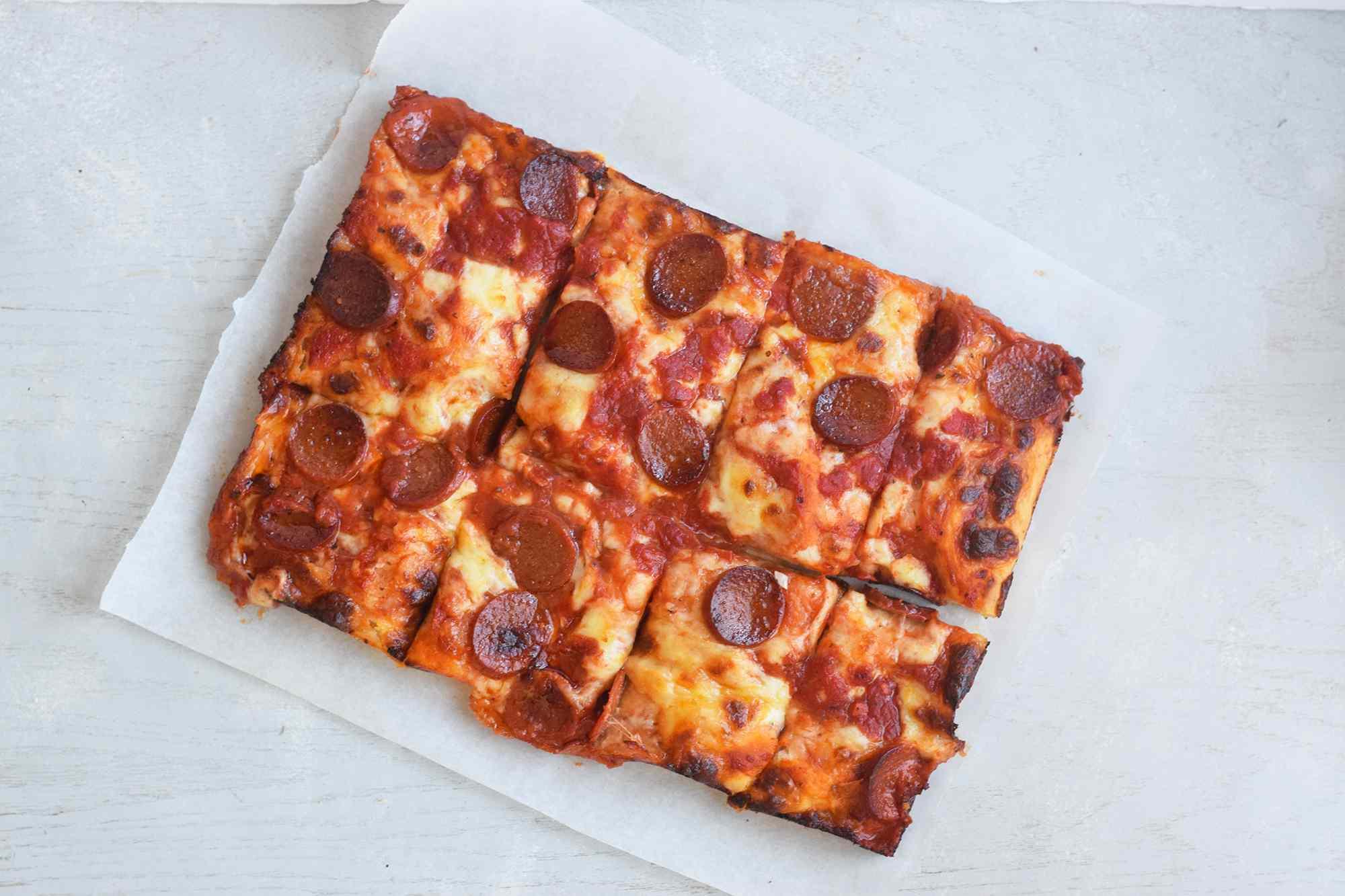 Sliced Detroit style pizza