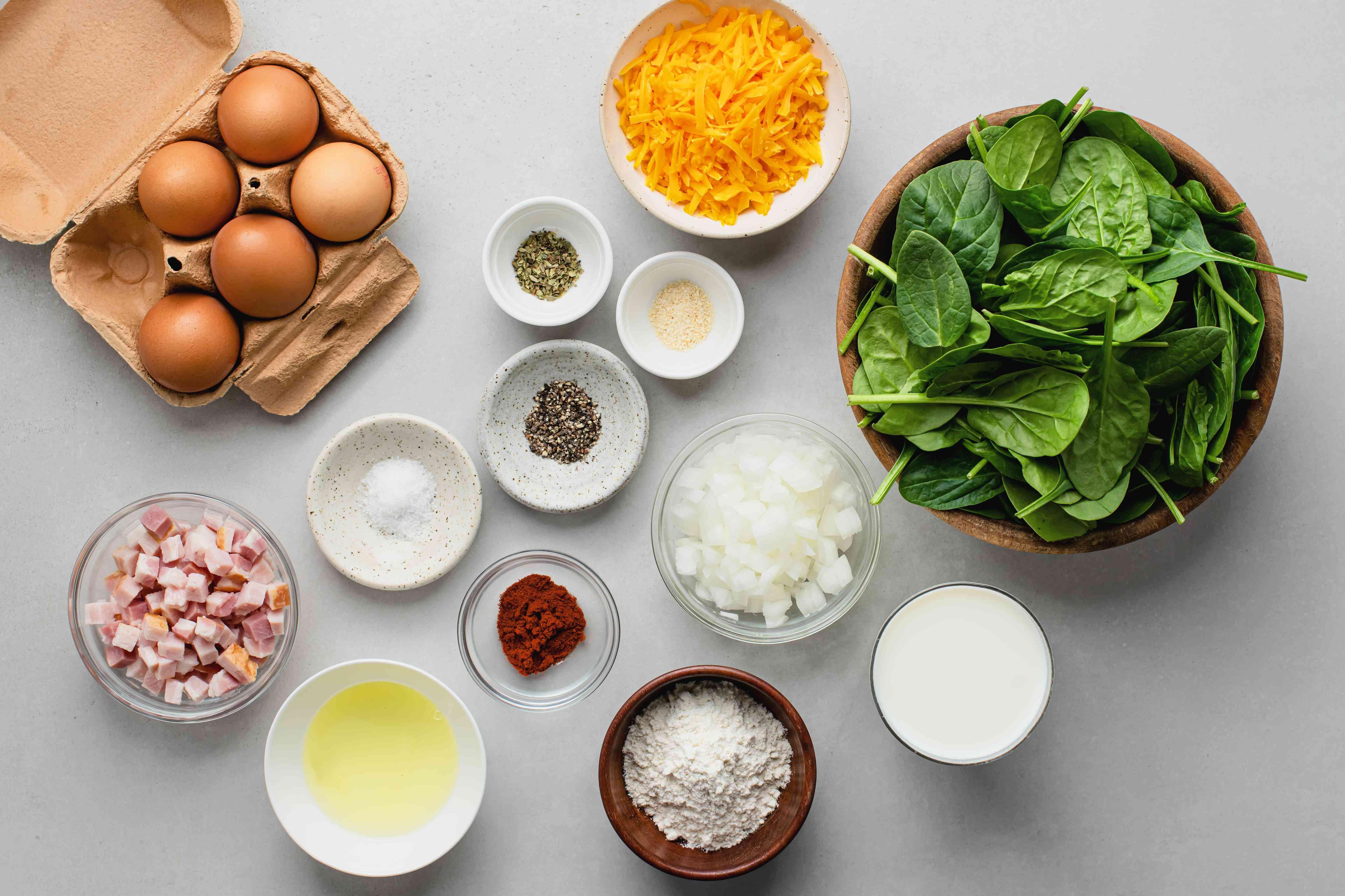 Crustless Spinach Quiche Recipe ingredients