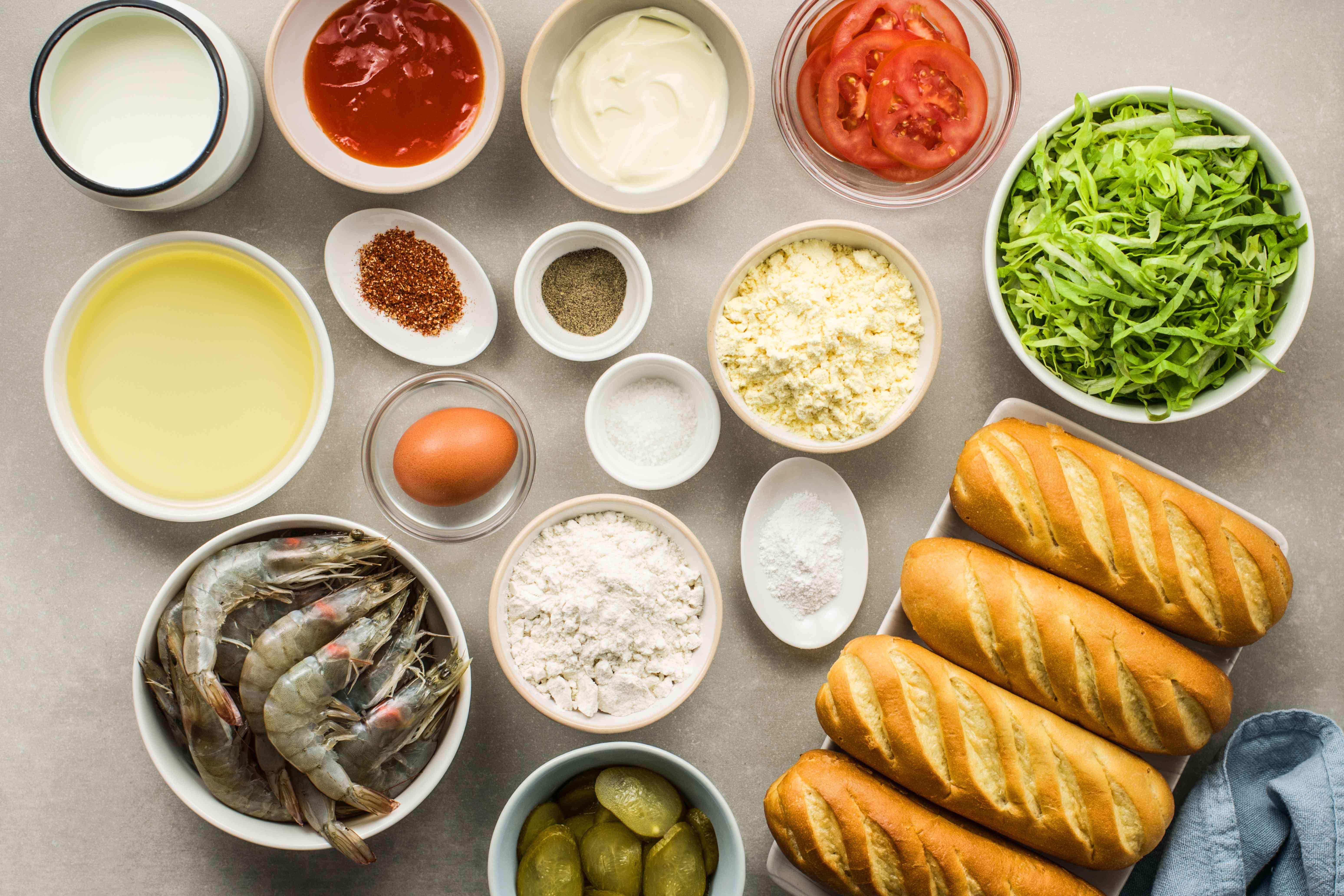 Ingredients for fried shrimp po boy