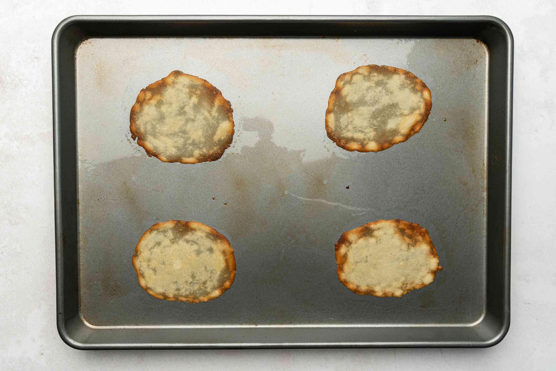 baked batter on a baking sheet
