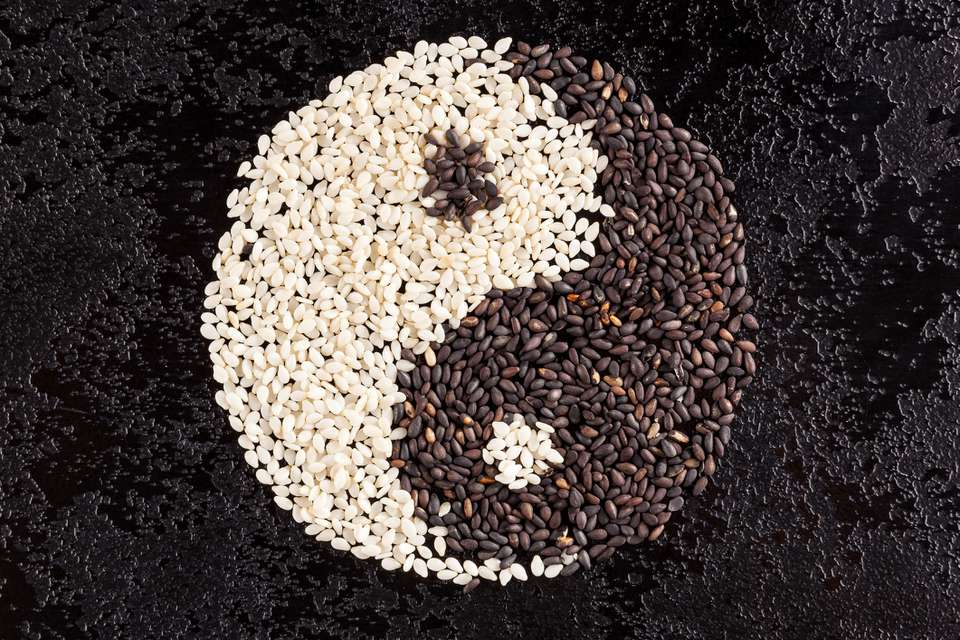 A sign of yin yang from the seeds of black and white sesame