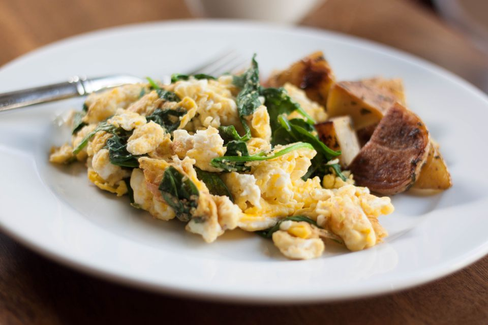 Spinach Egg Scramble with Roasted Potatoes