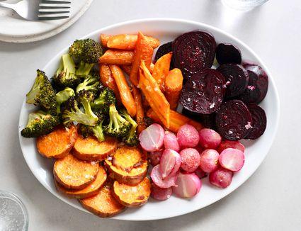 roasted vegetables on a serving platter