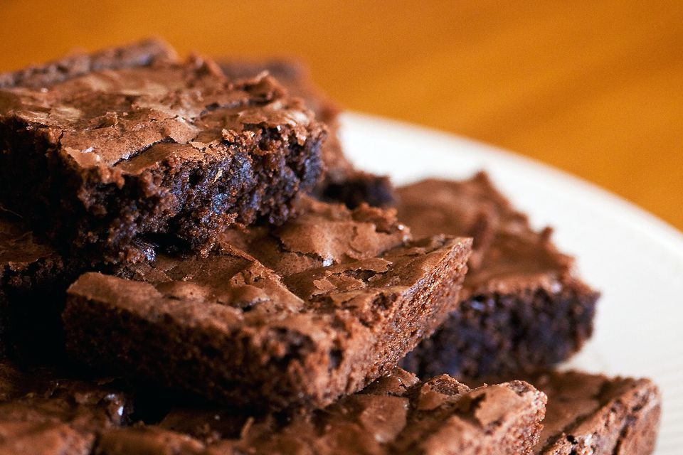 A plate of tasty moist chocolate brownies