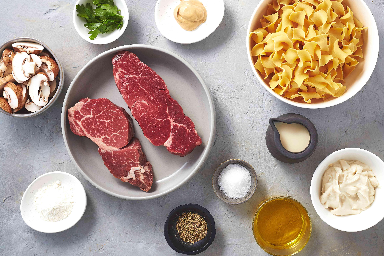 Dairy-Free Beef Stroganoff ingredients