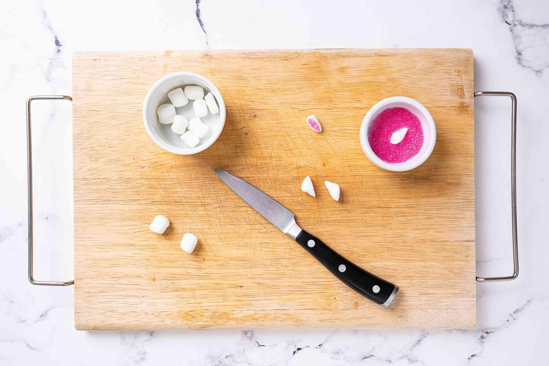 Cut mini marshmallows pressed into pink sugar