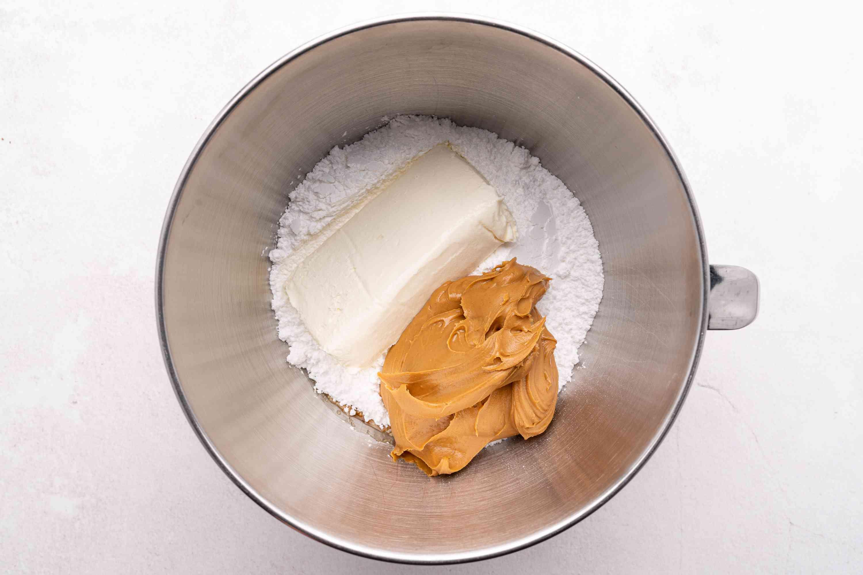cream cheese, powdered sugar, peanut butter, vanilla, and salt in a bowl