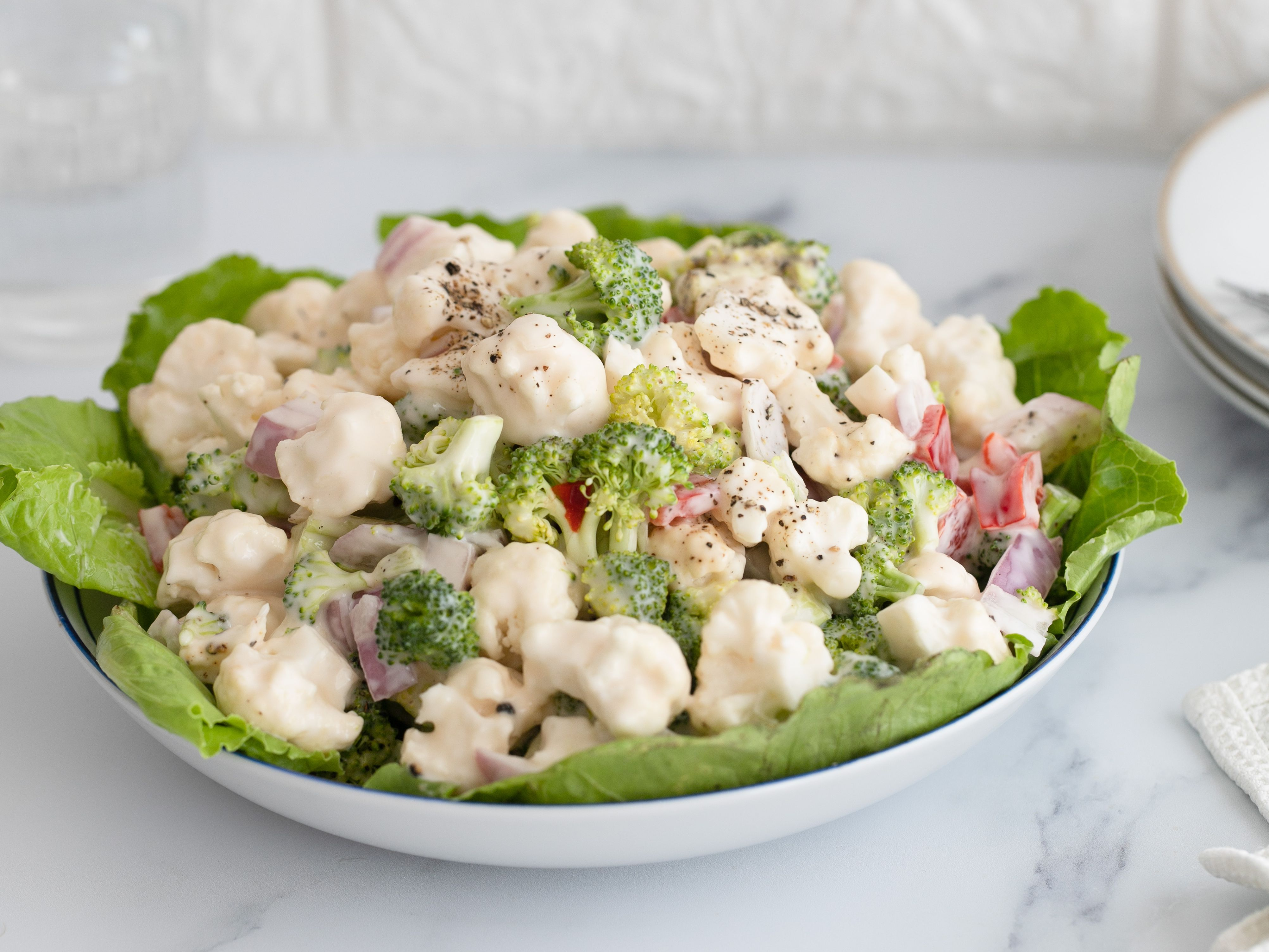 Cauliflower And Broccoli Salad With Mayonnaise