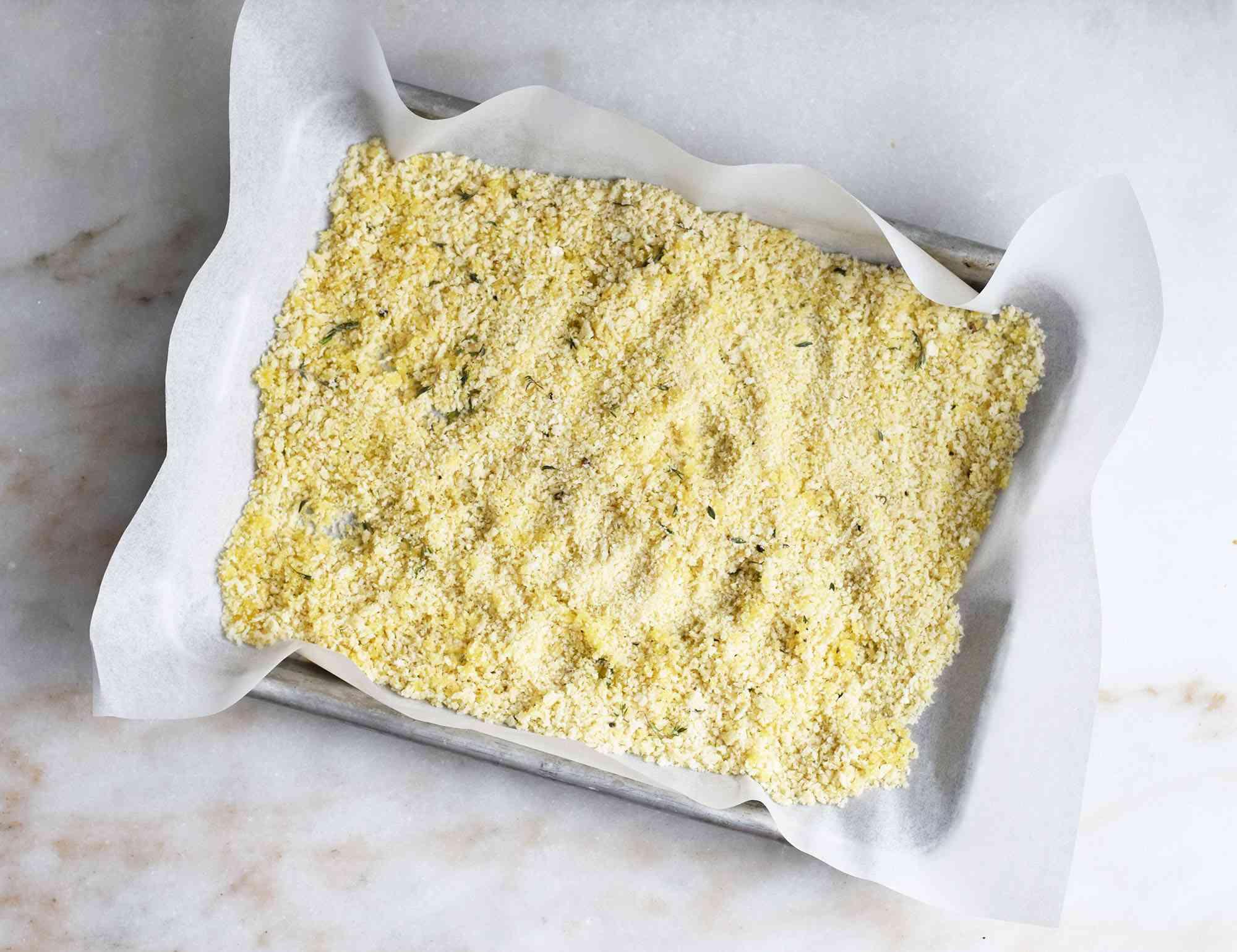 breadcrumbs on a sheet pan