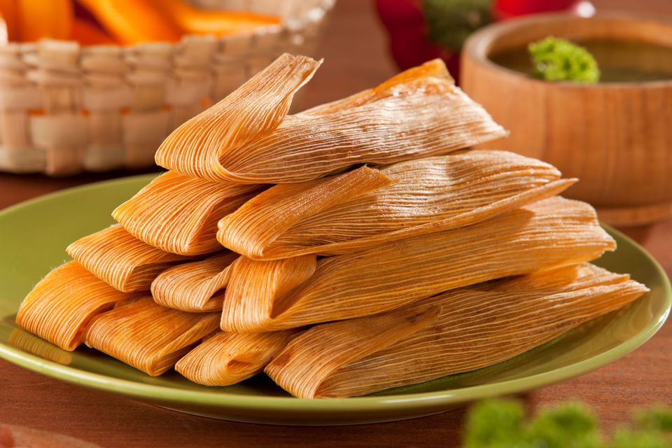 Corn-husk wrapped Mexican tamales
