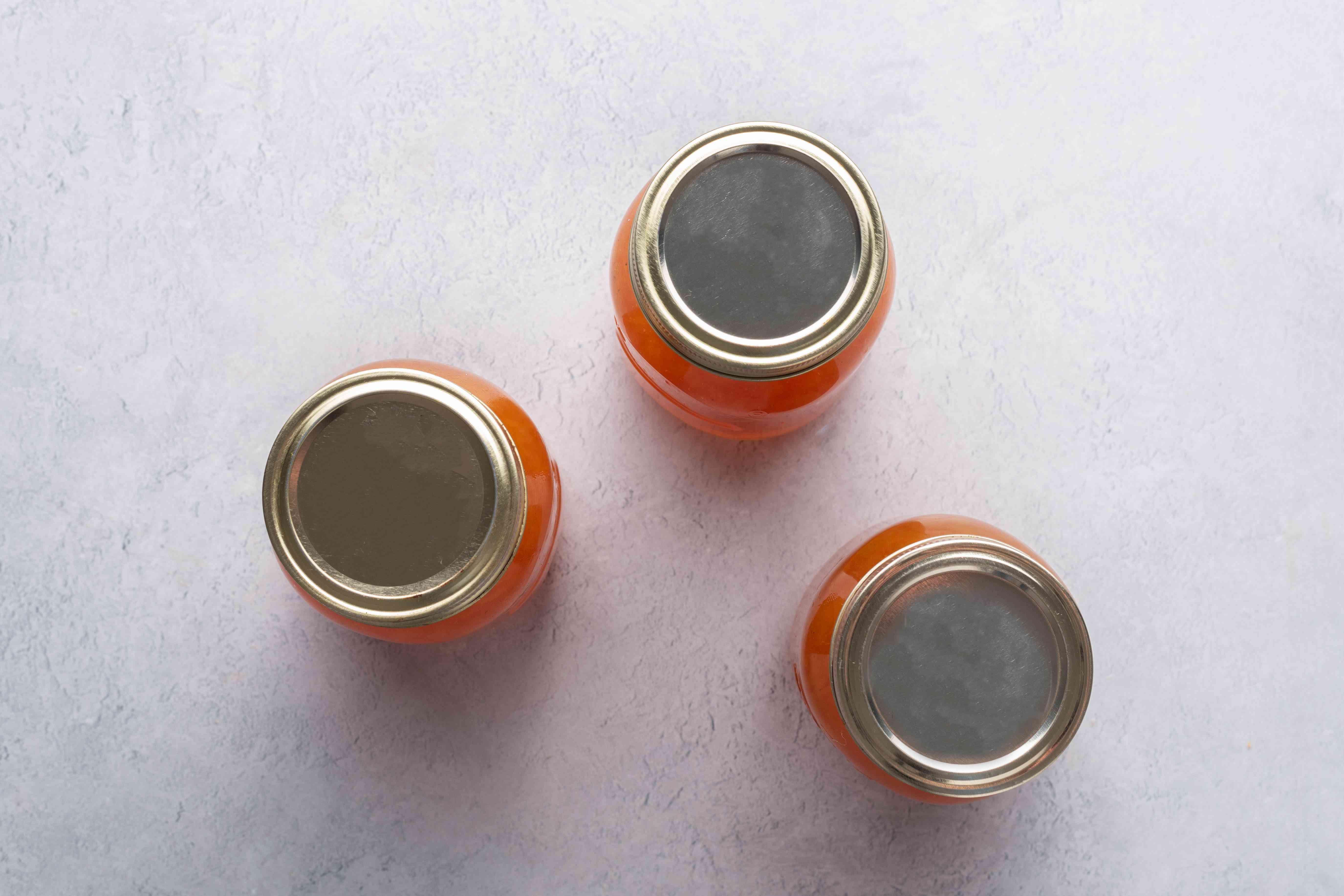 jars with grapefruit marmalade