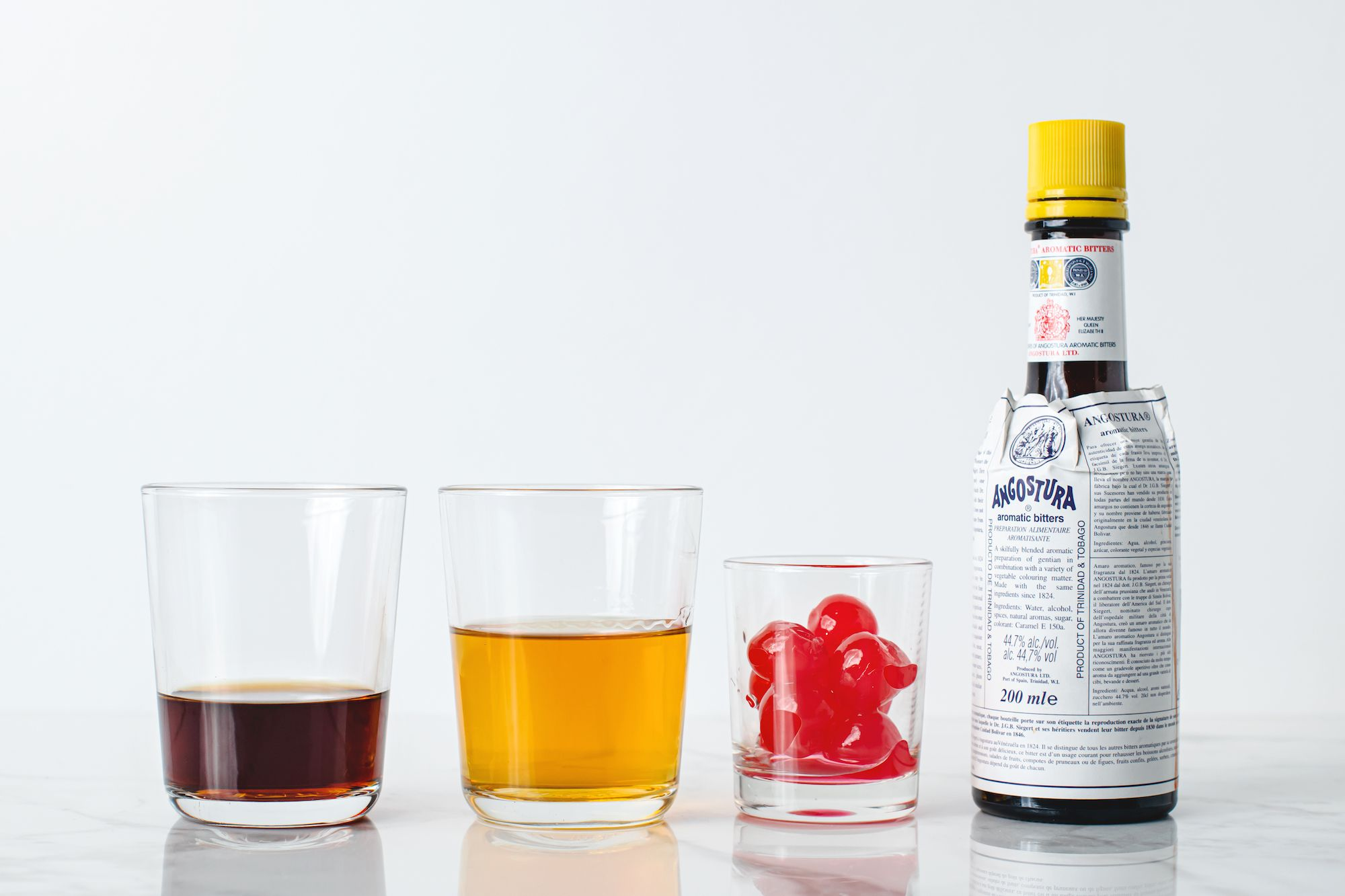 Ingredients for a classic Manhattan cocktail