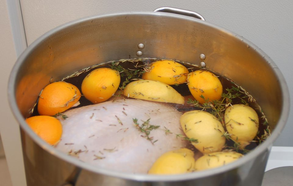 A pot of brined turkey