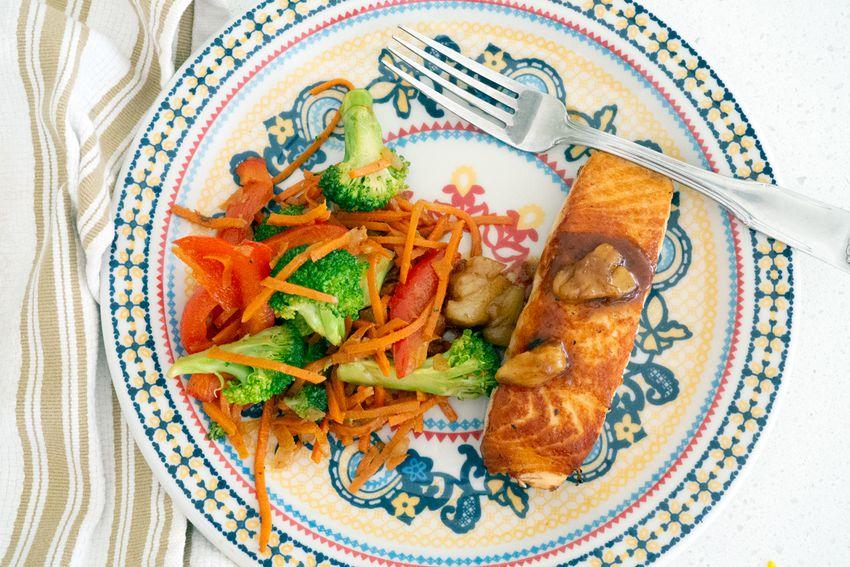 Green Chef salmon on dish