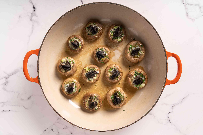 French, Escargot-Stuffed Mushrooms in a Dutch oven