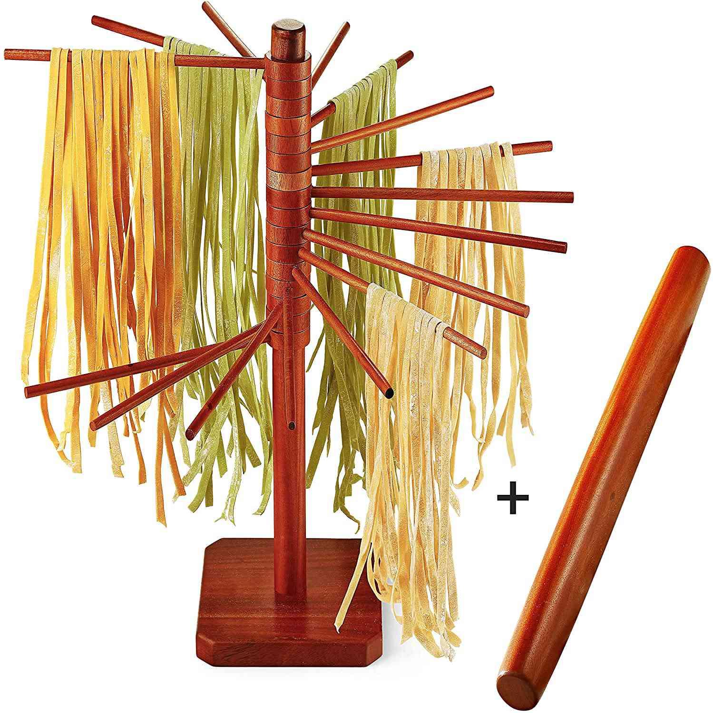 "JEWLUXURY Wood Pasta Drying Rack with 18"" Rolling Pin"