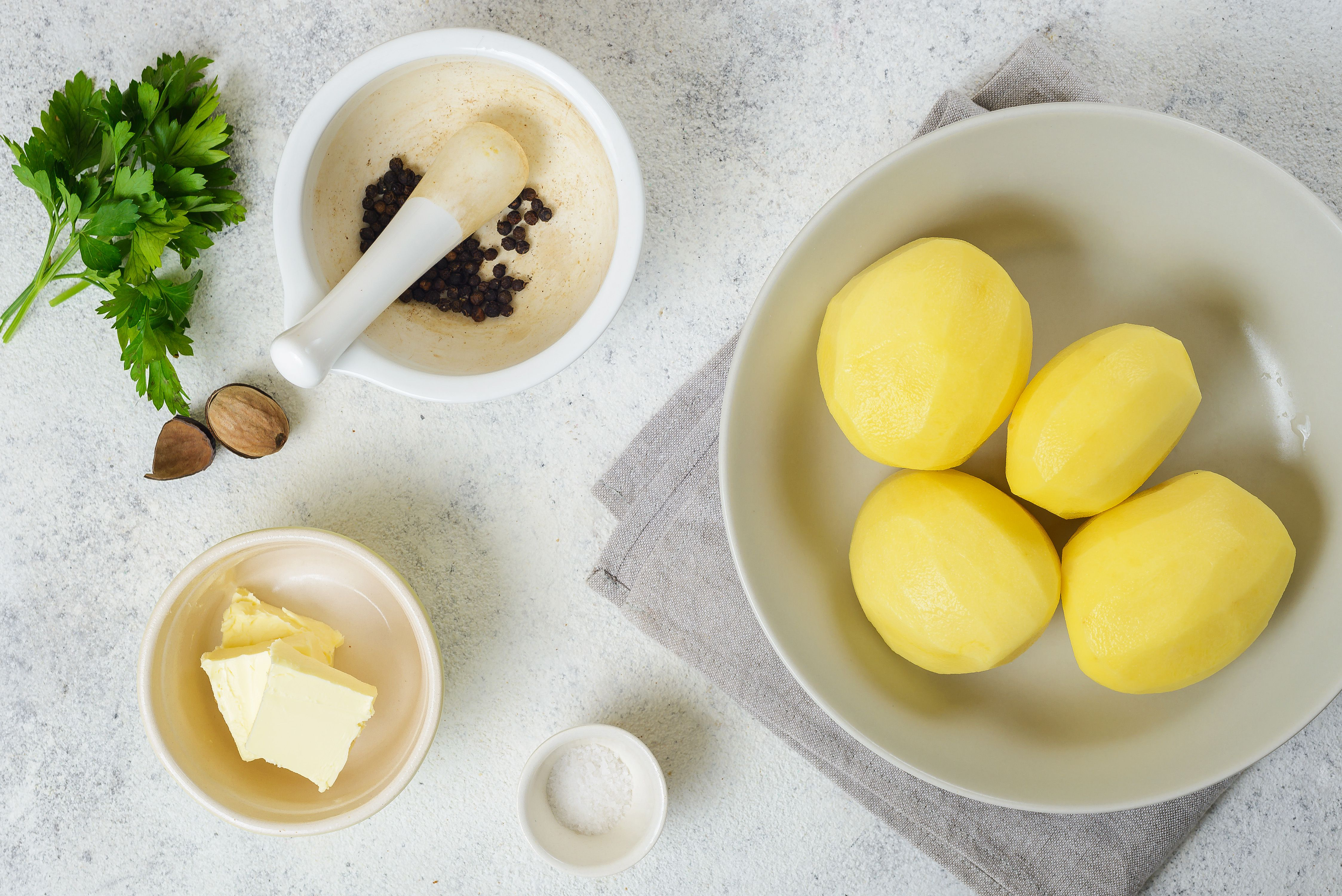 Potatoes, butter, nutmeg