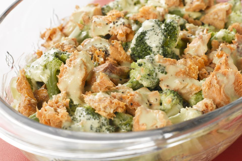 Salmon Casserole With Vegetables and White Sauce