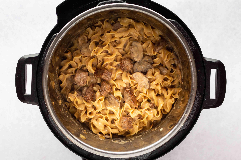 Beef Stroganoff ingredients in an Instant Pot