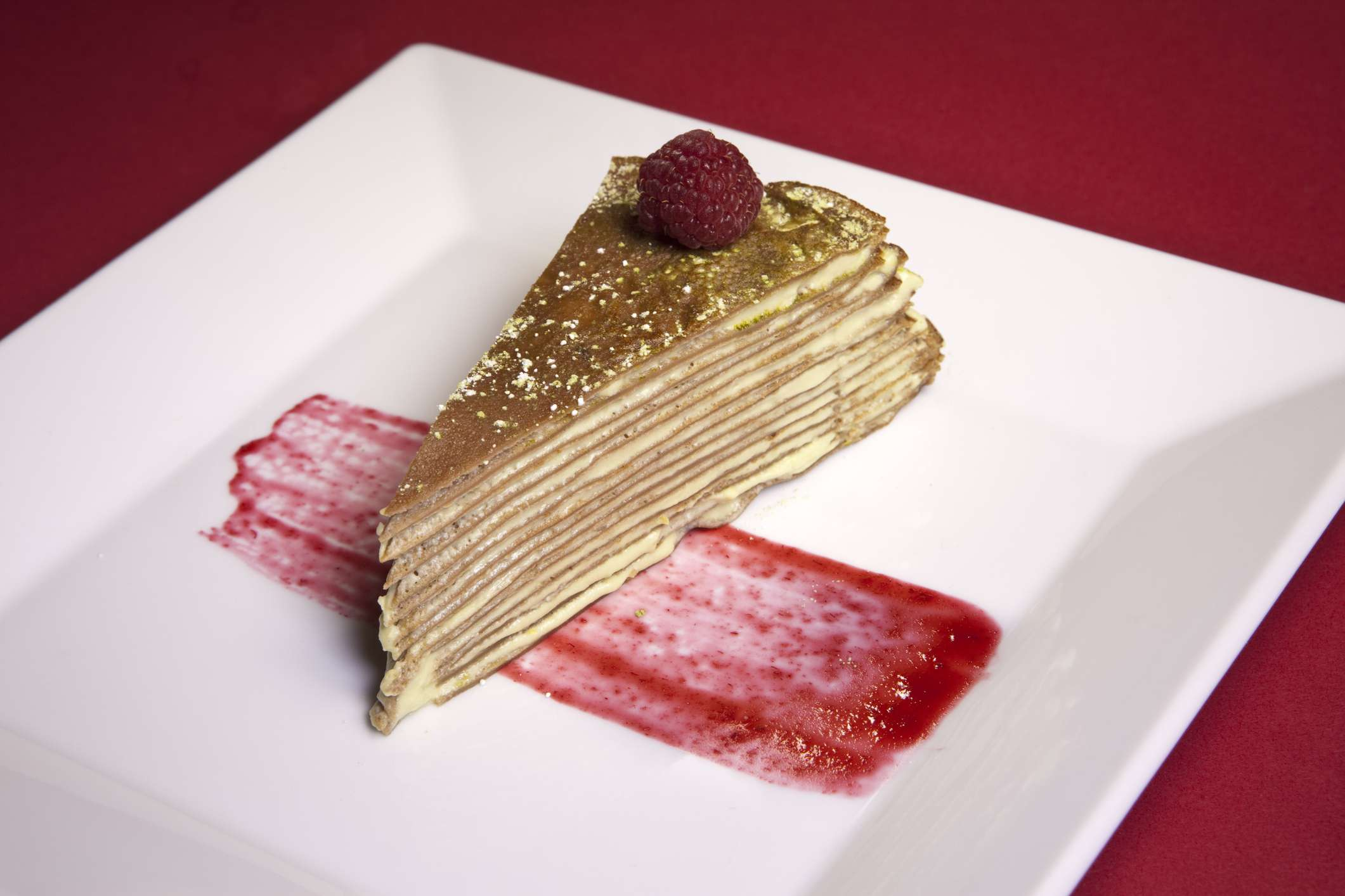 Thousand layer green tea mousse crepe