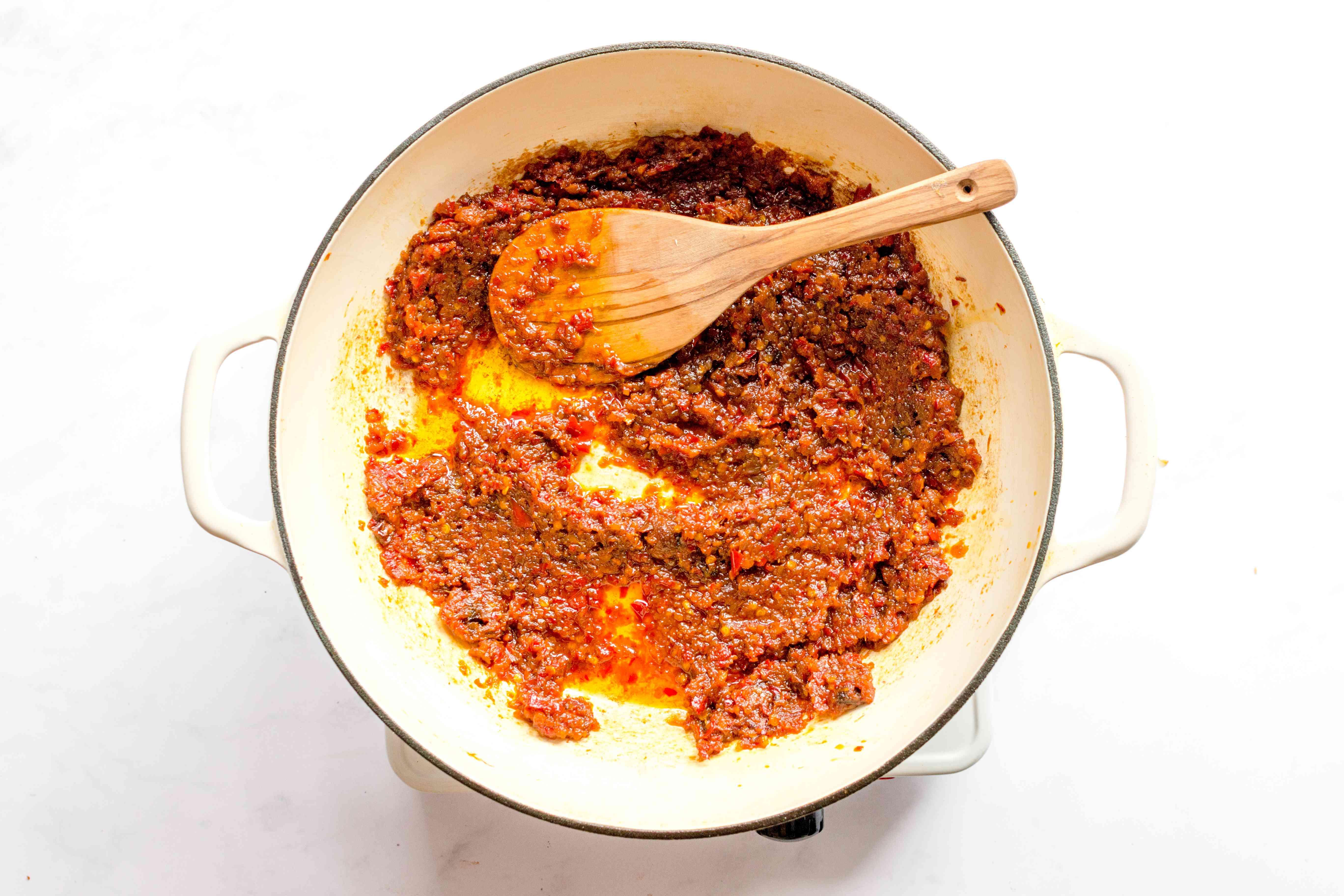Malaysian sambal sauce in skillet
