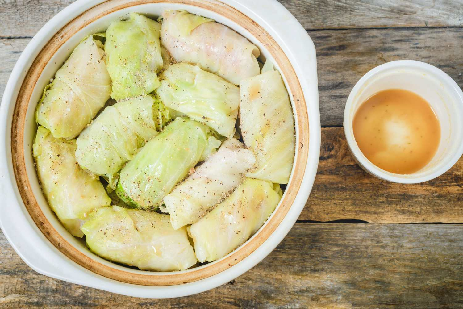 Stuffed cabbage and beef stock