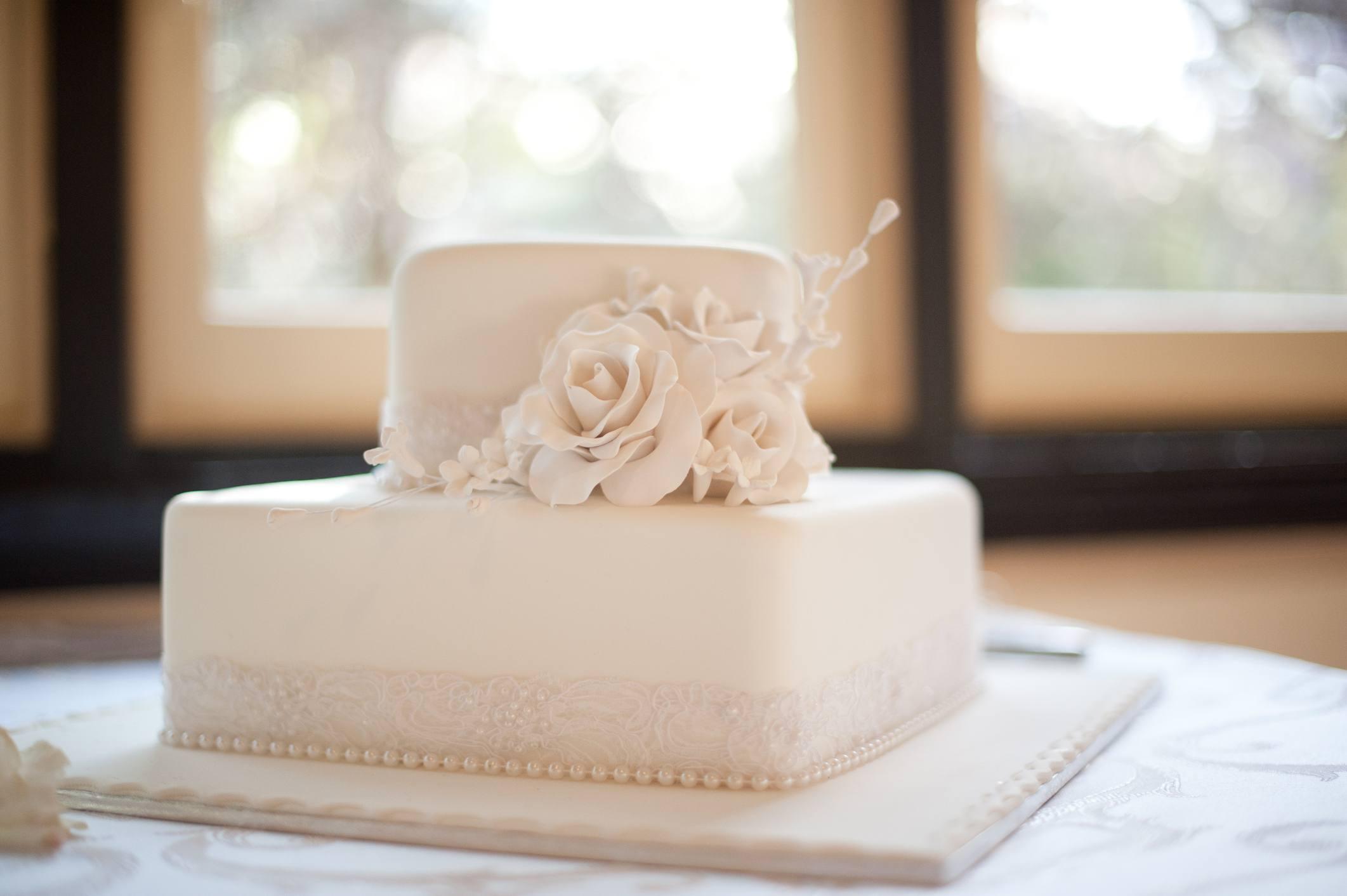 Gum paste bouquet on a celebration cake