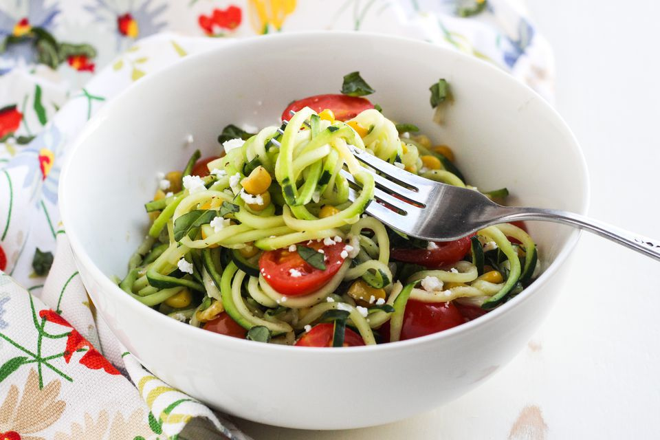 "Spiralized Zucchini ""Pasta"" With Tomato, Corn, and Goat Cheese"