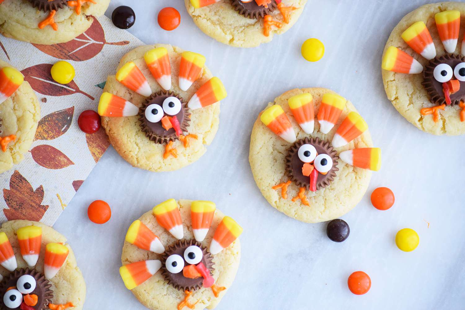 Sugar cookies decorated like turkeys for Thanksgiving